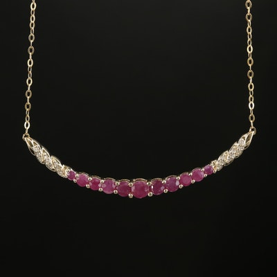 14K Yellow Gold Ruby and Diamond Necklace