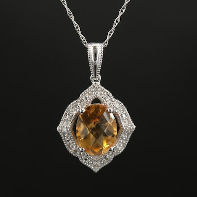 14K Gold Citrine and Diamond Pendant Necklace