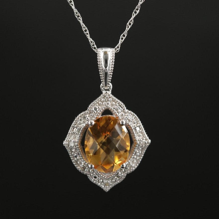 14K Gold Citrine and Diamond Pendant Necklace