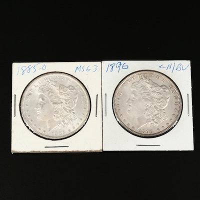1885-O and 1896 Morgan Silver Dollars