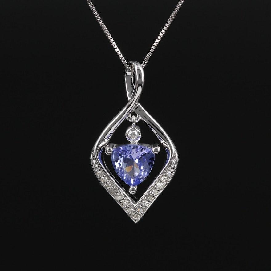 14K Gold Tanzanite and Diamond Necklace