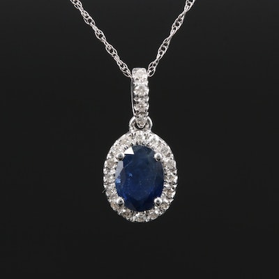 14K Gold Sapphire and Diamond Pendant Necklace