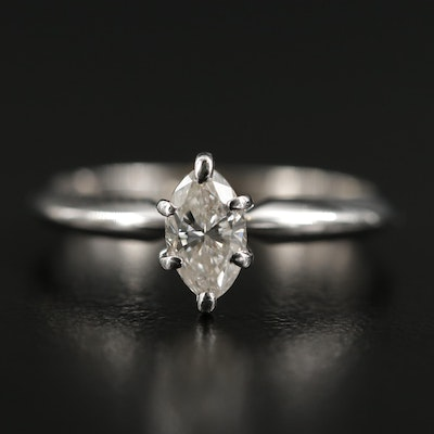 14K White Gold 0.39 CT Diamond Solitaire Ring