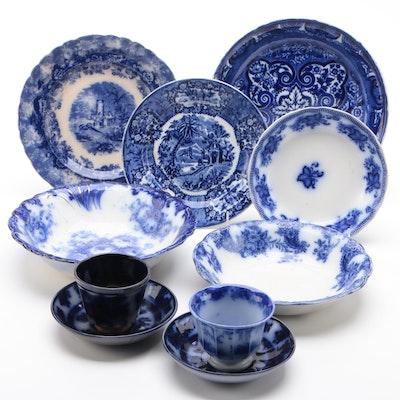 """English Flow Blue Dinnerware Including Johnson Bros """"Princeton"""""""