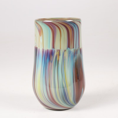 "Nick Delmatto ""Chalcedony Cylinder"" Hand Blown Art Glass Vase"