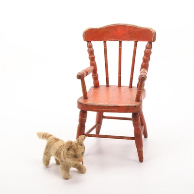 Hand-Crafted Miniature Armchair Dated 1877 with Mohair Cat