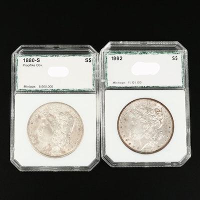 1880-S and 1882 Morgan Silver Dollar