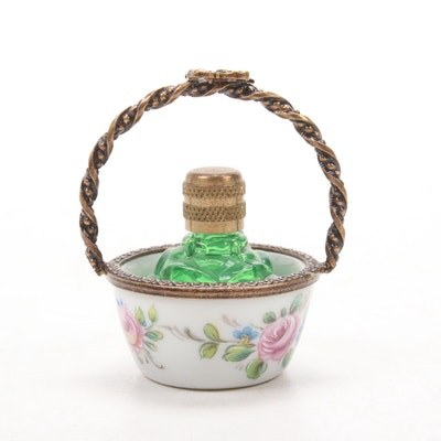 La Gloriette Limoges Hand-Painted Porcelain Basket with Perfume Bottle
