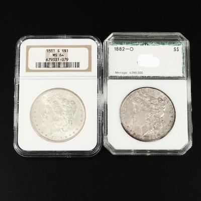 1882-O Morgan Silver Dollar and NGC Graded MS64 1881-S Morgan Silver Dollar