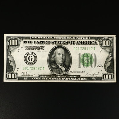 "Series of 1928-A ""Woods/Mellon"" $100 Federal Reserve Note"