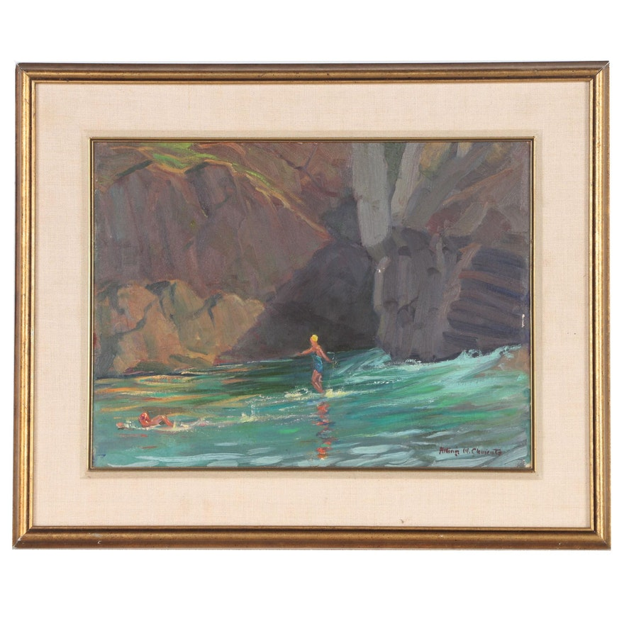 Alling MacKaye Clements Oil Painting of Coastal Ocean Swimmers