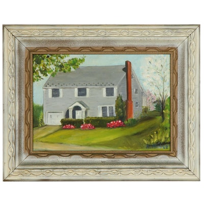 Folk Art Oil Painting of a House, 1968