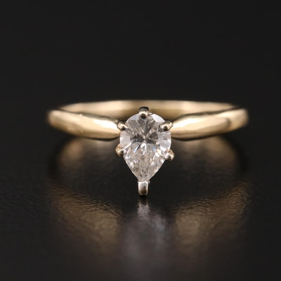 14K Yellow Gold 0.44 CT Diamond Solitaire Ring