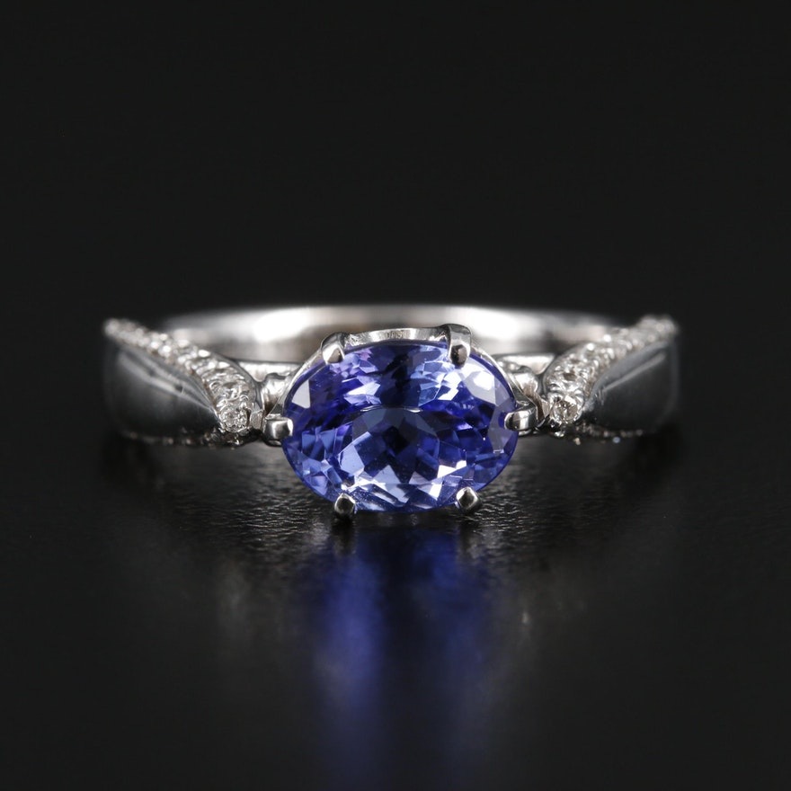 Vera Wang 14K Gold Tanzanite and Diamond Ring