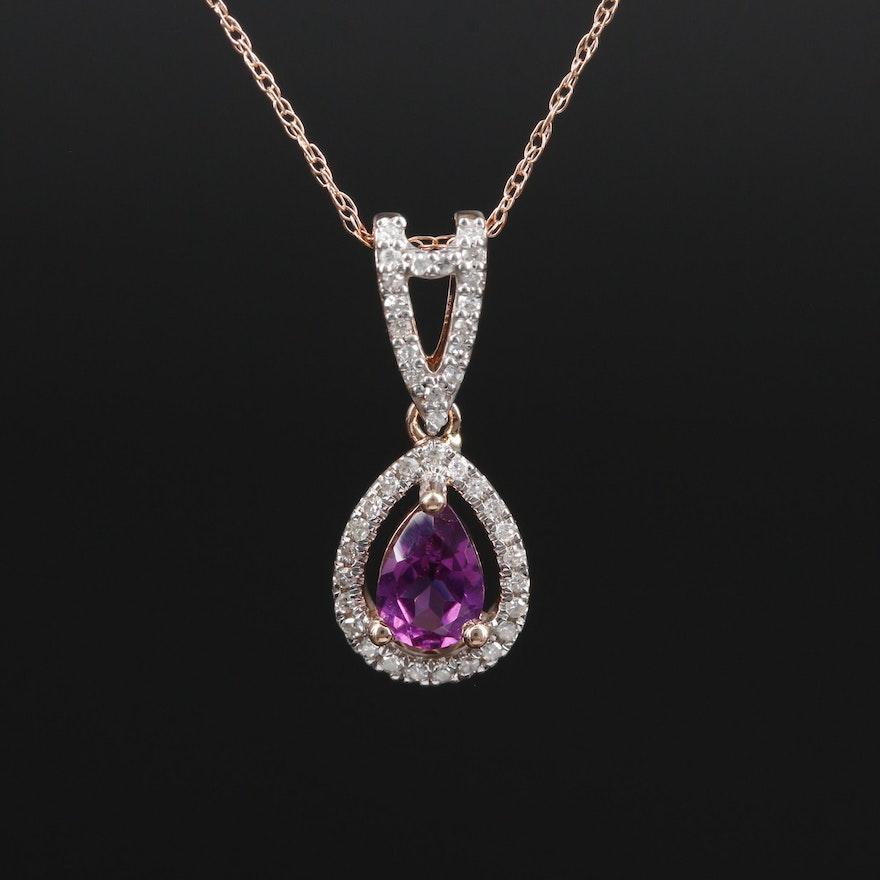14K Gold Rhodolite Garnet and Diamond Pendant Necklace