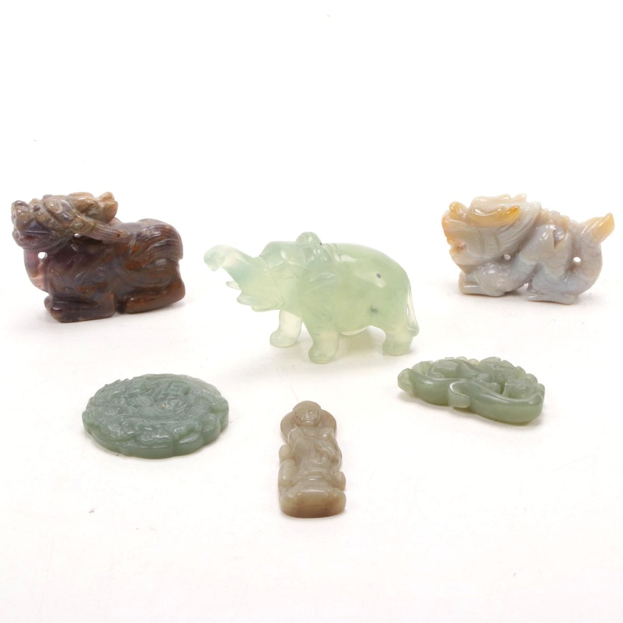 Chinese Carved Gemstone Guanyin and Animal Figurines
