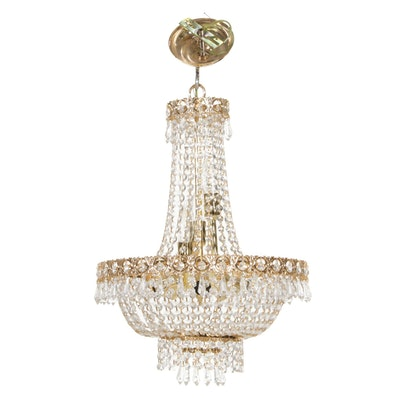 Ornate Brass and Crystal Prism Chandelier