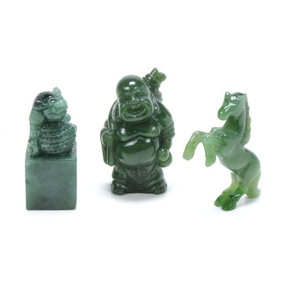 Chinese Carved Jade Buddha and Animal Figurines