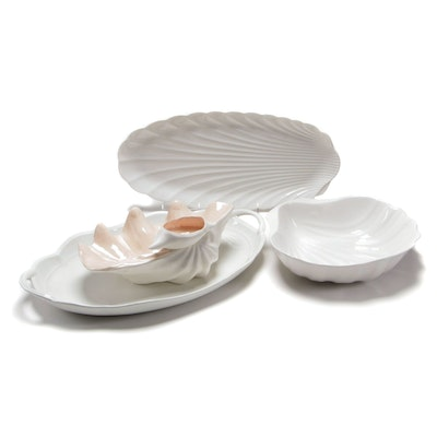 Studio Nova Ceramic Platter and Bowl with Other Shell Shaped Table Accessories