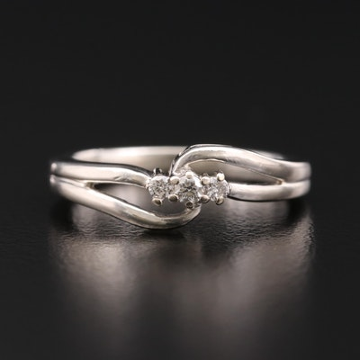 800 Silver Diamond Bypass Style Ring