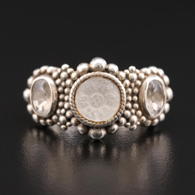 Stephen Dweck Sterling Silver Rock Crystal Quartz Floral Ring