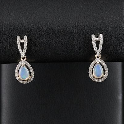 14K Gold Opal and Diamond Dangle Earrings