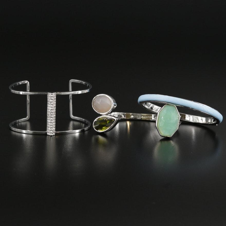 Henri Bendel Chaledony, Rhinestone and Fluorite Bracelets
