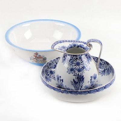 "Royal Doulton ""Daisy"" Pitcher and Basin with New Hall Pottery Co Ltd Basin"