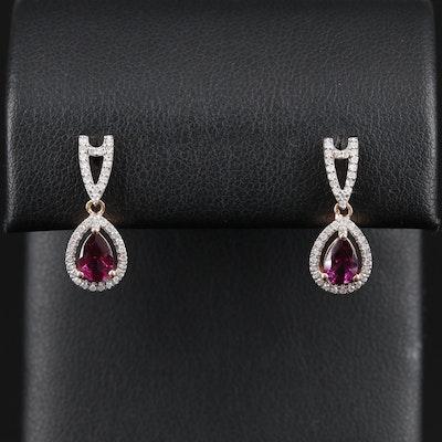 14K Gold Garnet and Diamond Earrings