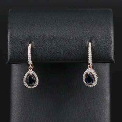 14K Gold Sapphire and Diamond Dangle Earrings