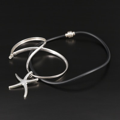 Sterling Silver Star and Cord Necklaces Featuring Joseph Esposito