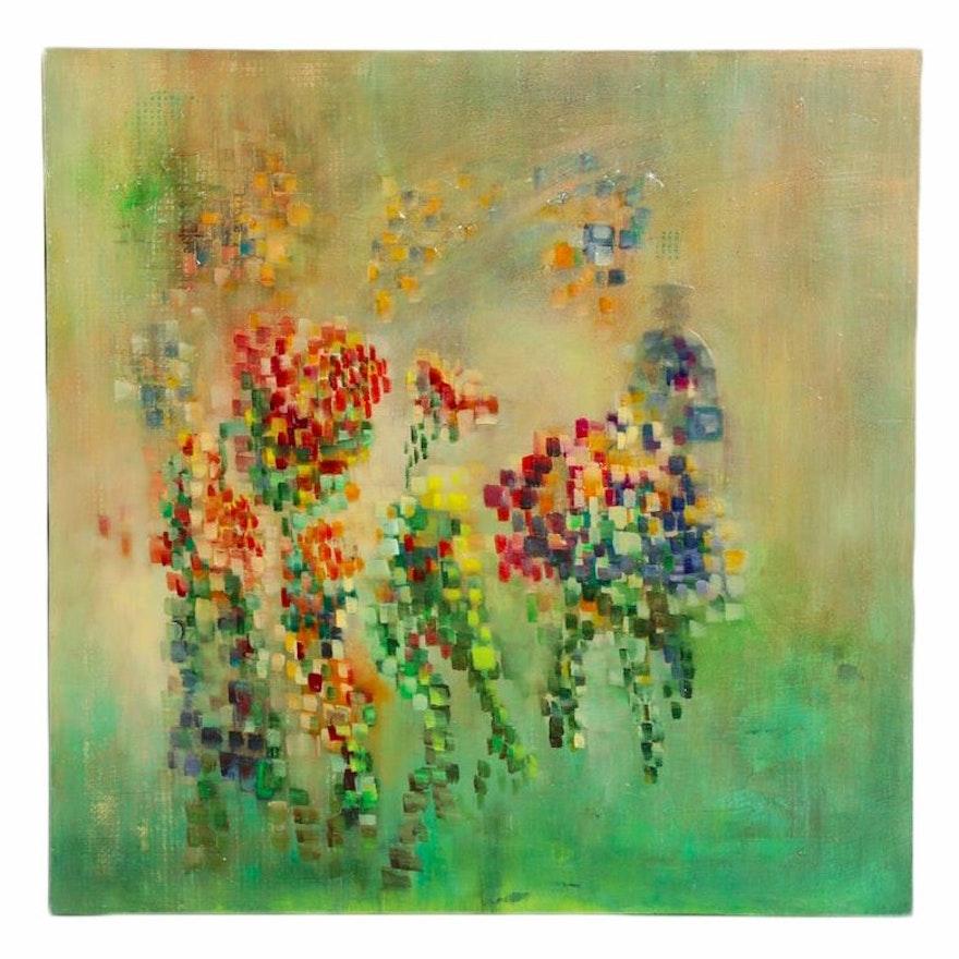 """Carole Pryharska Mixed Media Painting """"Pixelate: Mosaic I"""