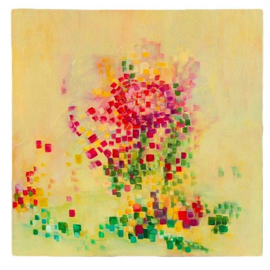 "Carole Pryharska Mixed Media Painting ""Pixelate: Mosaic II"