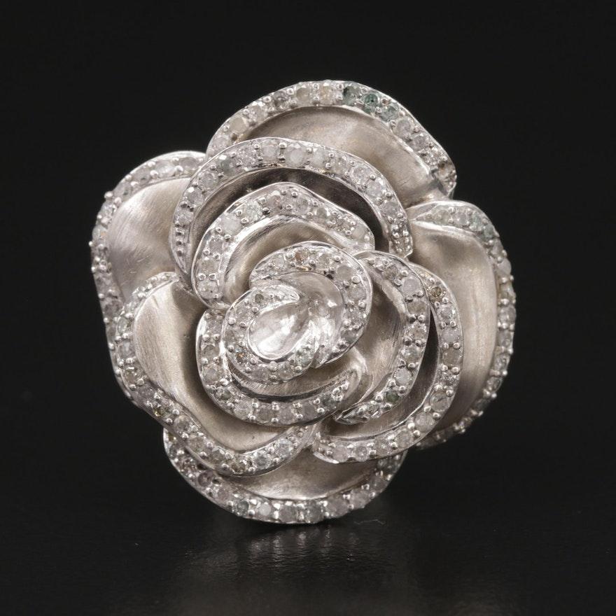 Sterling Silver Diamond Rose Pendant