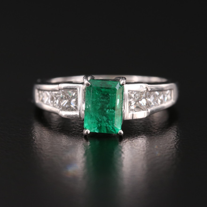 14K 1.01 CT Emerald and Diamond Ring