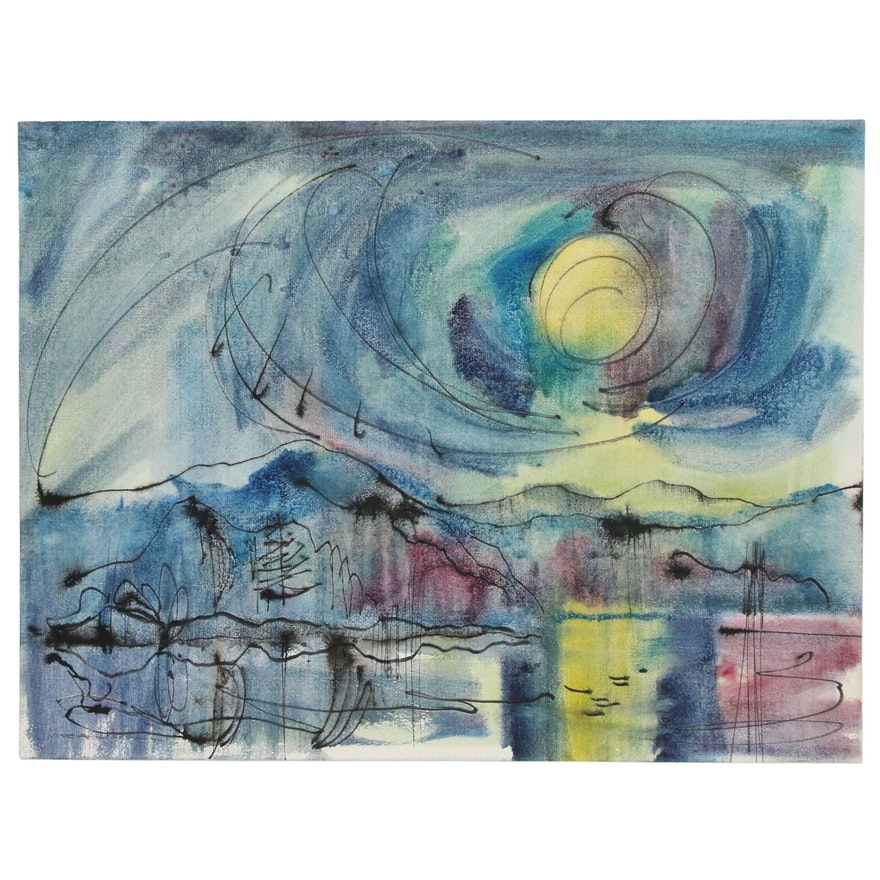 """Jack Meanwell Abstract Landscape Watercolor Painting """"Sunset"""""""