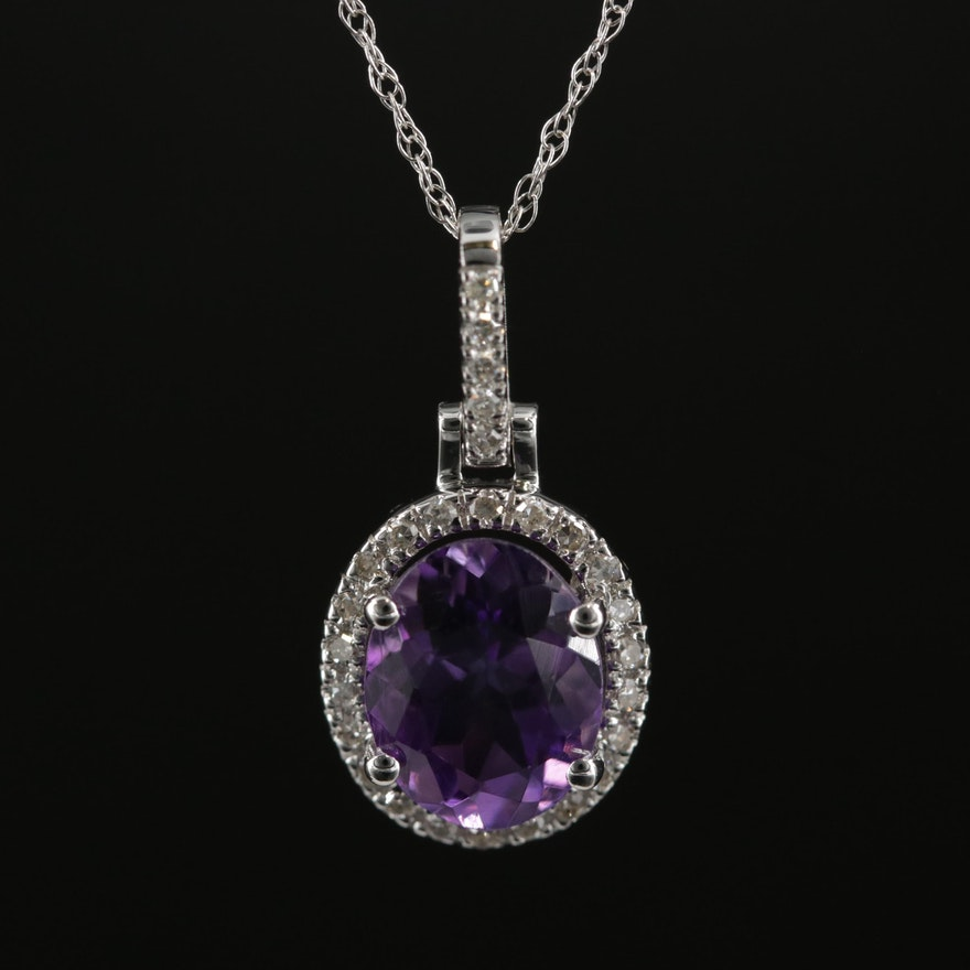 14K Gold Amethyst and Diamond Pendant Necklace