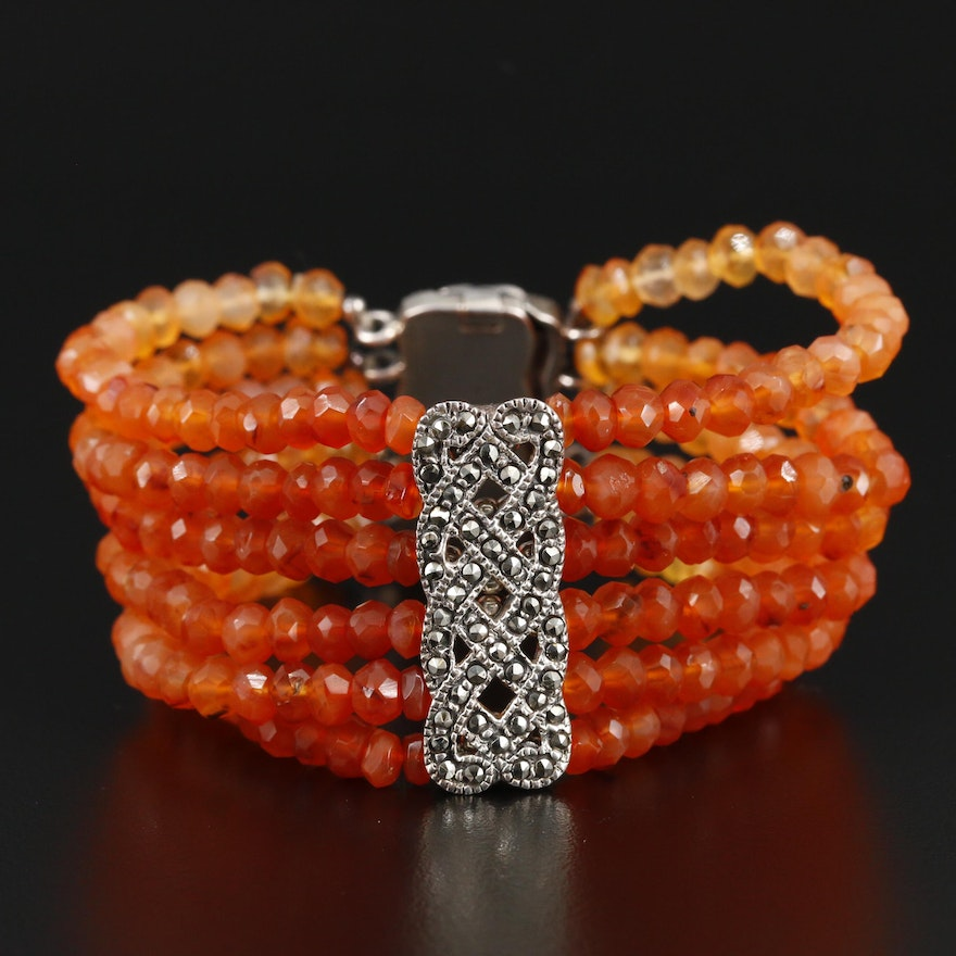 Sterling Silver Multi-Strand Agate and Marcasite Bracelet