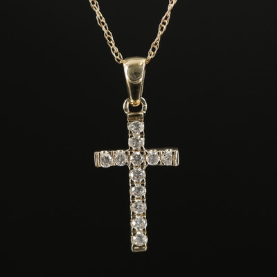 14K Gold Diamond Cross Pendant Necklace