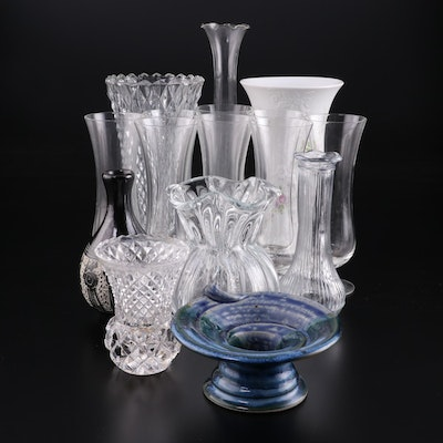 Kaiser Porcelain Vase with Other Glass and Ceramic Vases, Mid/Late 20th Century