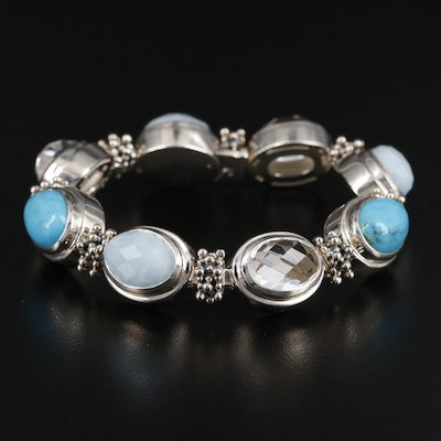 Michael Dawkins Sterling Silver Rock Crystal Quartz, Turquoise and Aquamarine