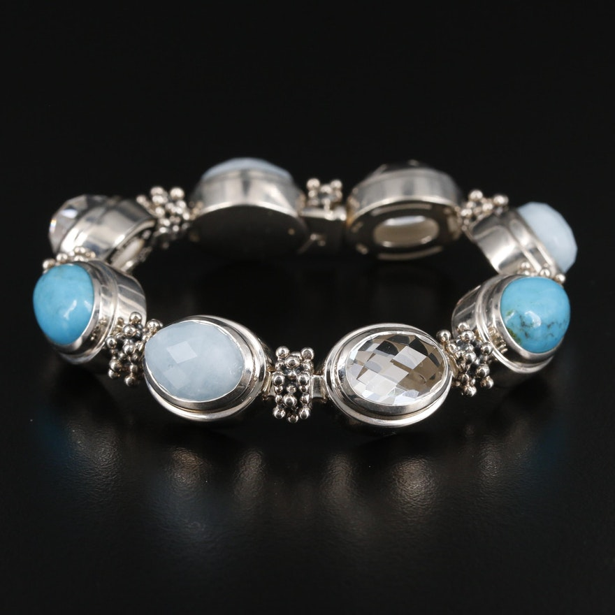 Michael Dawkins Sterling Silver Rock Crystal Quartz, Turquoise and Aquamarine