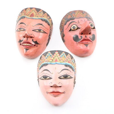 Indonesian Polychrome Carved Wood Masks
