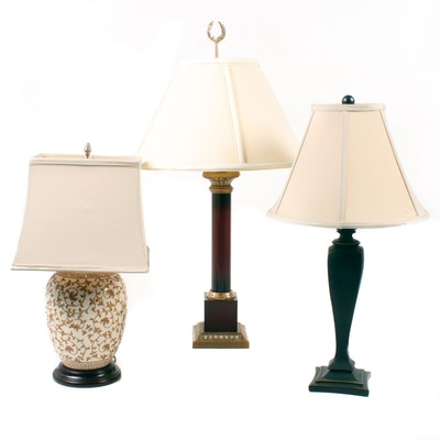 Three Table Lamps Including Ceramic Urn Lamp