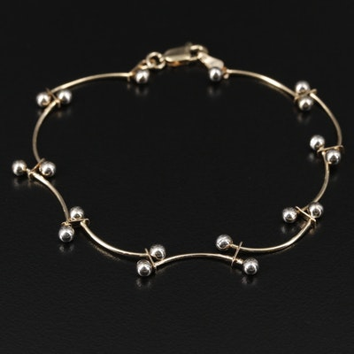 14K Yellow and White Gold Bar Link Bracelet