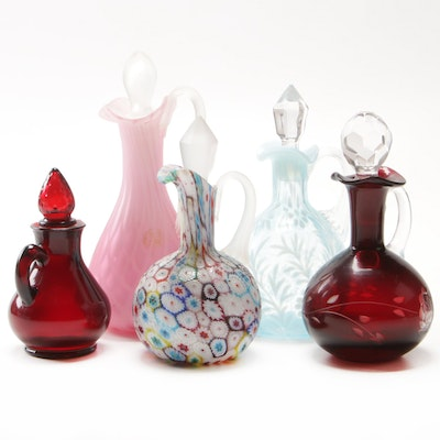 Millefiori and Other Art Glass Perfume Bottles Including Avon