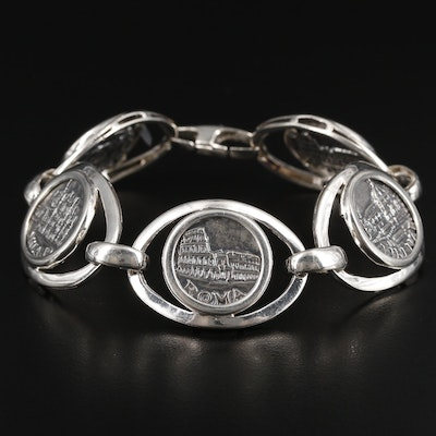 Italian Commemorative Token Bracelet With Sterling Silver Frame
