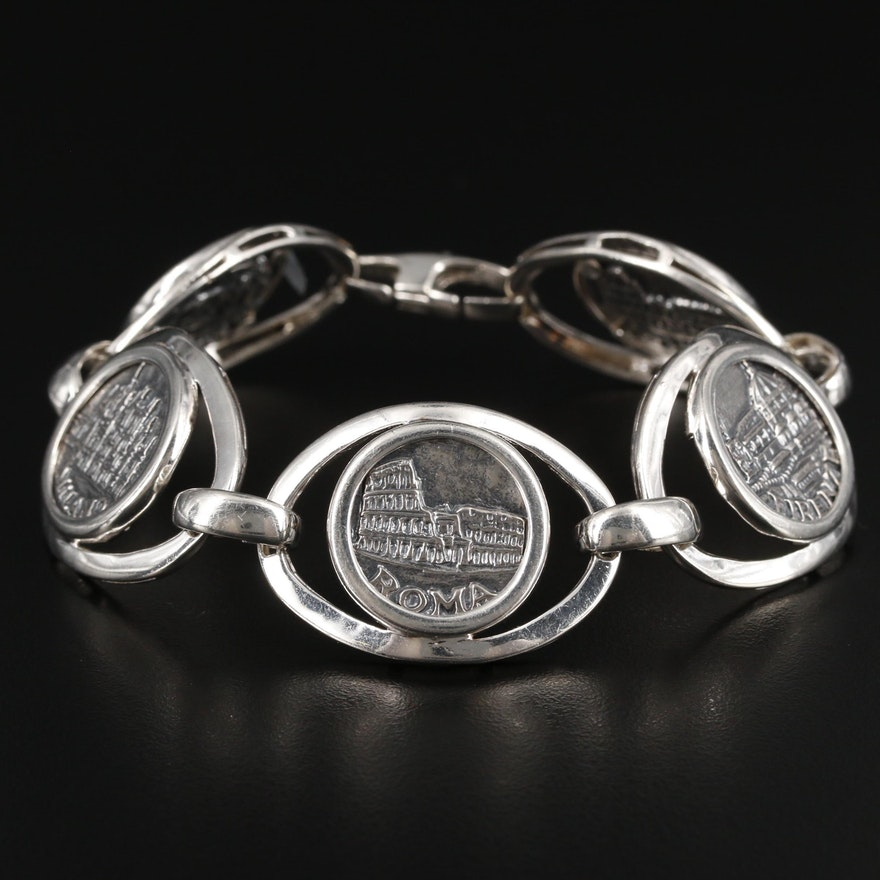 Italian Commemorative Token Bracelet With Sterling Silver Frame