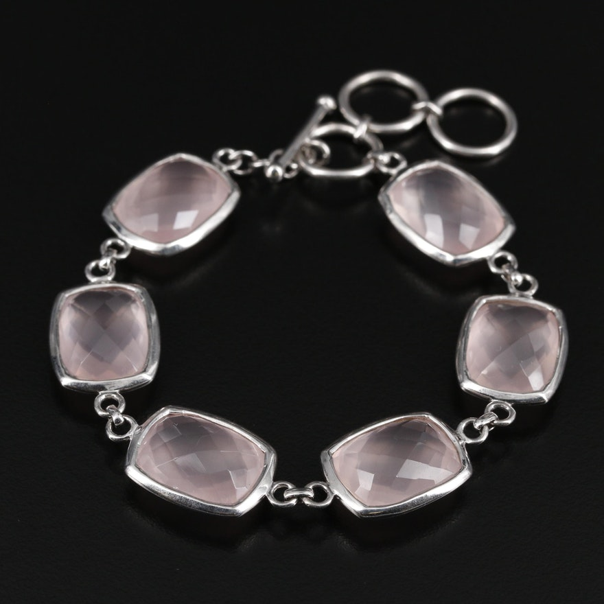 Sterling Silver Rose Quartz Bracelet