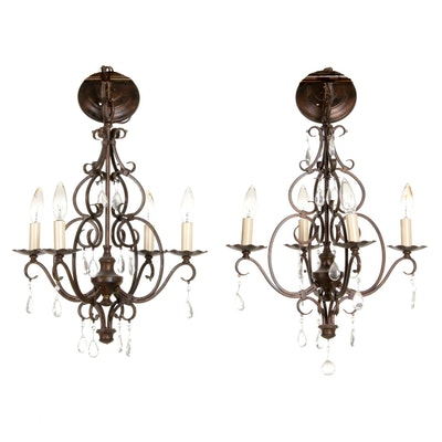 Pair of Bronze Finish Scroll Candlestick Chandeliers